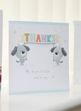 Thank you card in reception